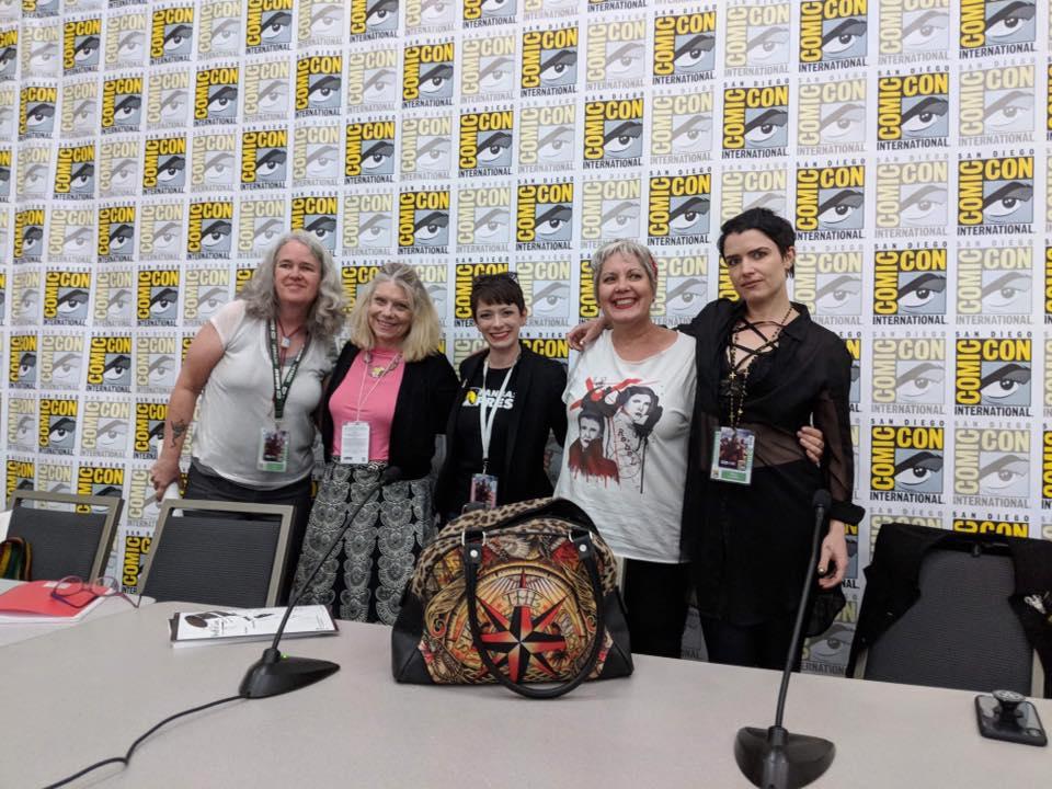 Panel at San Diego Comic-Con 2018 - Lisa Morton, Nancy Holder, Barbra Dillon (Fanbase Press), Susan Lee, and Megan Hutchison.